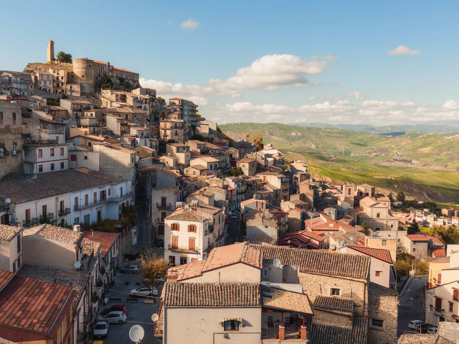 Town of Cammarata in Central Sicily in Spring 2017